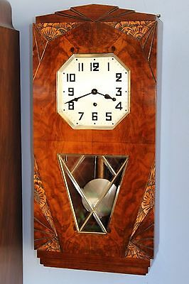 Stunning Art Deco  8 Day Westminster Chime Walnut  Wall Clock