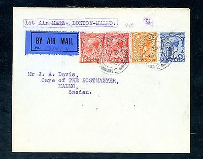 UK   1925  1st Airmail Cover  London to Malmo Sweden.  Scarce   (J1528)