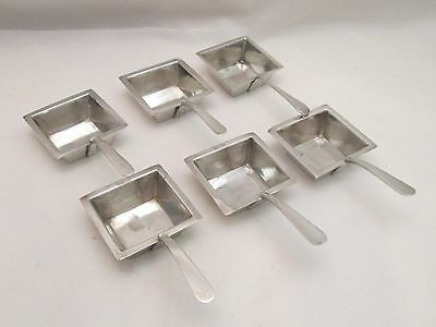 6 Unusual Silver Plated Square Ladles / Spoons - Hukin & Heath - c1900
