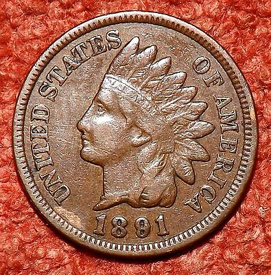 1891 USA Indian Head Cent -- Collectible Grade & Detail