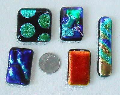 dichroic glass cabochon lot of 5  fused COE90 hand made crafted