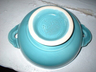 VINTAGE Fiestaware TURQUOISE cream soup bowl tab handles FOOTED