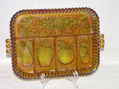 Vintage Indiana Amber Carnival Lustre Glass Fruit Decorated Sectional Tray