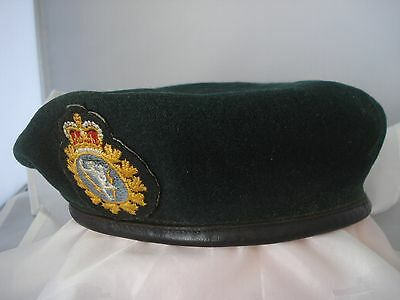 Canadian Army Signals beret with woven badge plus brass uniform button