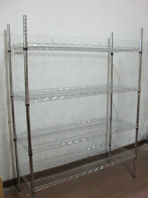 1X Adjustable 4 Tier Wire Shelving Storage Shelf 118x29.5x156