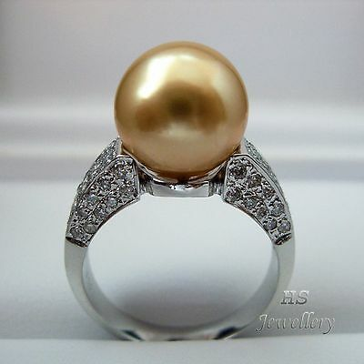 HS Rare 11.25mm Golden South Sea Cultured Pearl Diamonds .792tcw Ring 18KWG AAA