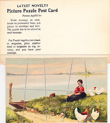 PUZZLE POSTCARD:original perforated post card with mailing envelope(see desc.)