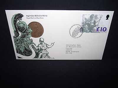 GB first day cover £10 stamp with a bureau special cancel.