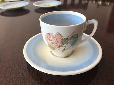 Susie Cooper Crown Works Pottery Patricia Rose Coffee Cup and Saucer c1940