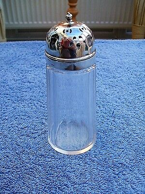 "Beautiful Vintage Glass & Silver Plated Salt Shaker/Pot Markings ""E.M.N.S."""