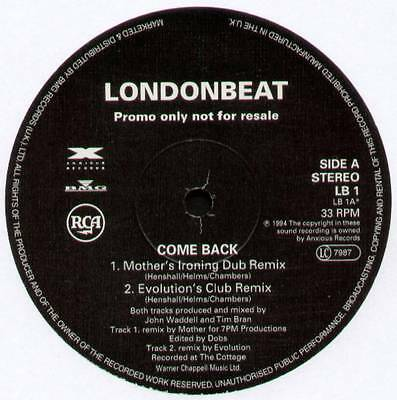 "Londonbeat ~ Come Back [Remixes] ~ 1994 Uk 4-Track Promo 12"" ~ Anxious / Rca Lb1"