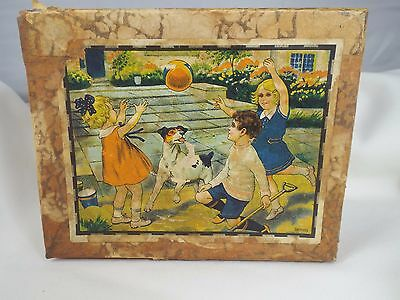 Antique 1910s Hand Made Germany Puzzle Box 12 Blocks 6 Different Puzzles