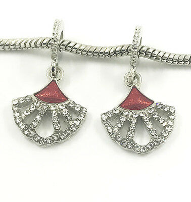 Fashion 2pcs Silver European Charm Crystal Spacer Beads Fit Necklace Bracelet ~