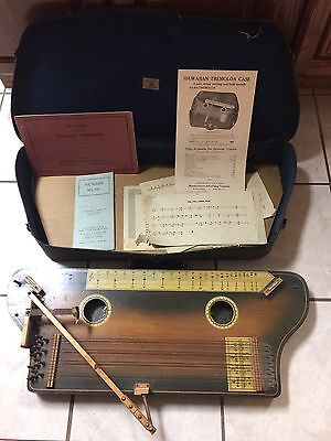 Antique Vtg Rare Music Hawaiian Tremoloa Wood Zither W/case Books ++ Schmidt D52