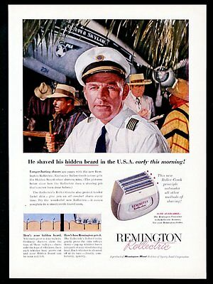 1956 Pan Am airlines pilot plane photo Remington Rollectic shaver print ad