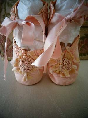 A Exquisite Pair Antique Victorian Silk Baby Shoes C.1890
