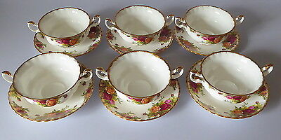 Royal Albert Old Country Roses x 6 Soup Cups/Bowls & Saucers Orig B/stamp 1st