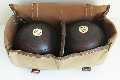 Vintage Wood Bowling Balls with Canvas Bag