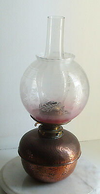 Antique Messengers Hammered Copper Brass Oil Lamp 44CM Tall