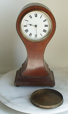 Antique Duverdry & Bloquel Edwardian inlaid Mahogany Balloon Mantle Clock
