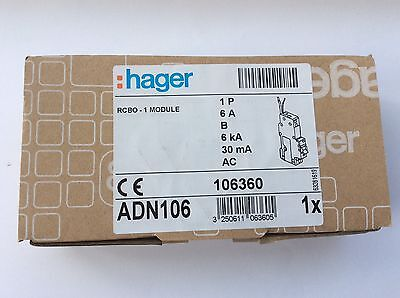 Hager RCBO 6 Amp 30mA Type B 6A 106360  ADN106 BRAND NEW