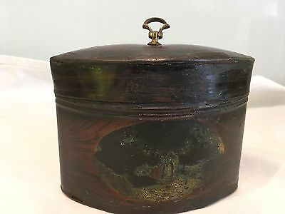 Antique Painted Tole (tin)Small Oval Tea Caddy