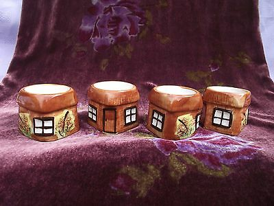 Vintage Price Kensington Hand Painted Pottery CottageWare Egg Cups x 4