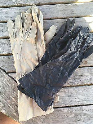 """2 Pairs of French Antique Ladies Kid  Gloves Both Size 6.5"""""""