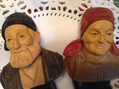 Hand Carved Vintage Wood Old Couple Man Woman Bust FOLK ART COUPLE, PAI