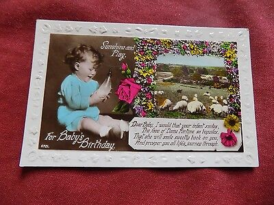 VINTAGE GREETINGS: BIRTHDAY Baby with bottle RP colour tint 1939