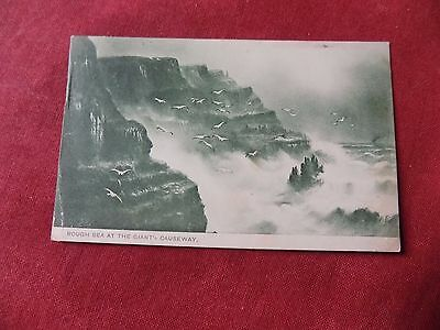 VINTAGE NORTHERN IRELAND: Giant's Causeway rough sea art card green tint 1904