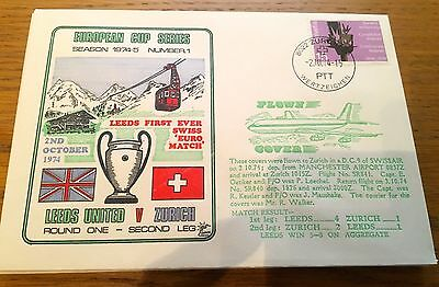 FOOTBALL FIRST DAY COVER FOOTBALL EUROPEAN CUP LEEDS UNITED v ZURICH