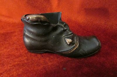 Vintage Brass Boot Match Holder / Paper Weight with mice.