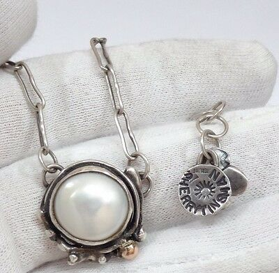 """Sherry Tinsman Sterling Silver ~ 14k gold  natural  Pearl Pendant Necklace 16"""""""