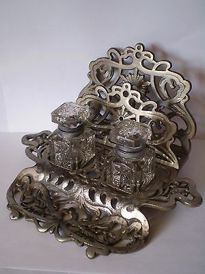 Stunning Art Nouveau Metal Ink Well Stand & Letter Rack...see Makers Mark