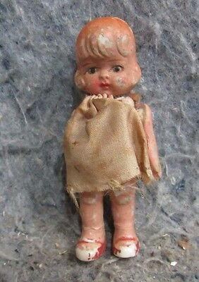 """Vintage Old small Little Doll maybe Porcelain? Ceramic? Bisque? 4"""" Japan used"""