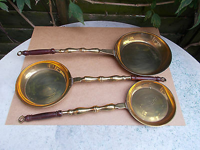 3 x Vintage Decorative Graduated Brass Skillet Frying Pan with Wood Handles