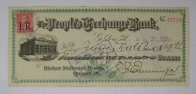 Vintage 1899 JJ Emminga Golden, Illinois to Quincy National Bank Cancelled Check