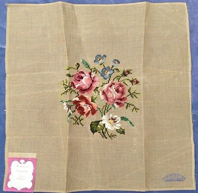 "VINTAGE NEEDLEPOINT CANVAS FLORAL 23x23"" FOR PILLOW SEAT CUSHION PREWORKED"