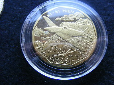 1991 Marshall Island Proof $10 Coin Planes Of Ww Ii Ki-61 Hien