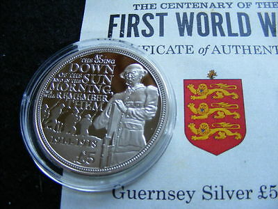 GUERNSEY Silver Proof £5 Pounds 2014  FIRST WORLD WAR + numbered COA