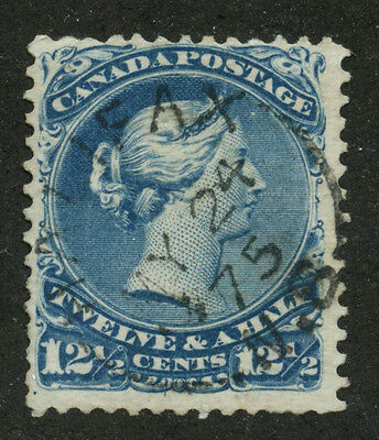 Canada 1868 Large Queen 12 1/2c Blue #28 - Full CDS Halifax NS MY 24 75