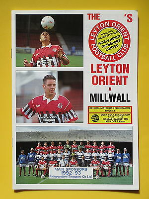 LEYTON ORIENT v MILLWALL LEAGUE CUP 92/93