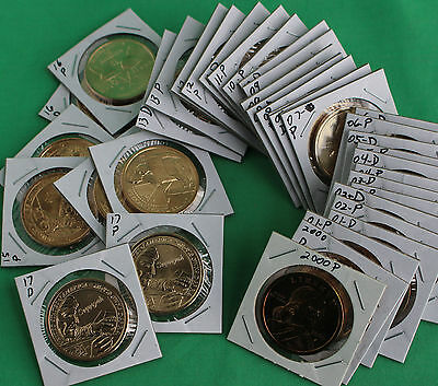 2000 thru 2017 SACAGAWEA One Dollar Native American 36 Coin P and D $1 Lot UNC