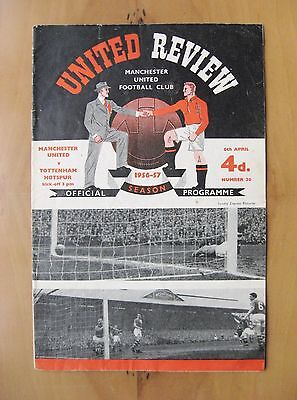 MANCHESTER UNITED v TOTTENHAM HOTSPUR 1956/1957 *VG Cond Programme With Token*