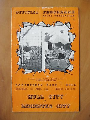 HULL CITY v LEICESTER CITY 1951/1952 *Good Condition Football Programme*