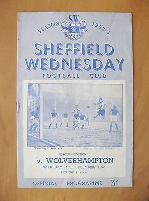 SHEFFIELD WEDNESDAY v WOLVES 1952/1953 *Good Condition Football Programme*