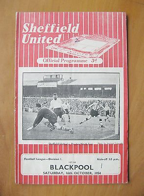 SHEFFIELD UNITED v BLACKPOOL 1954/1955 *Good Condition Football Programme*