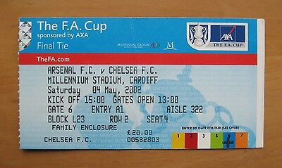 2002 FA Cup Final ARSENAL v CHELSEA *VG Condition Ticket*
