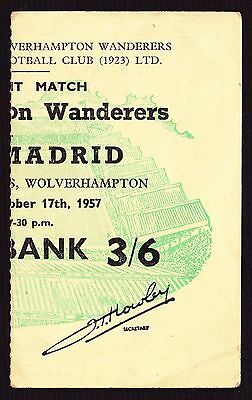 WOLVES v REAL MADRID Friendly 1957/1958 *VG Condition Ticket*